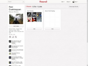 Pinterest User Profile Page