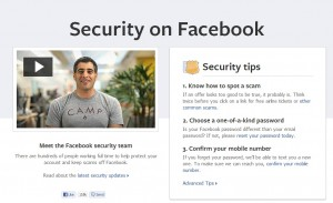 Facebook security center user privacy