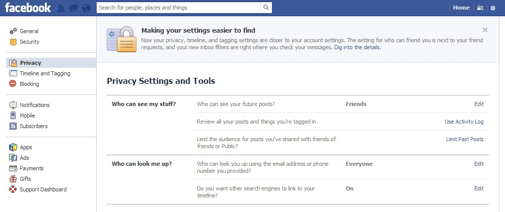Super simple privacy controls for facebook