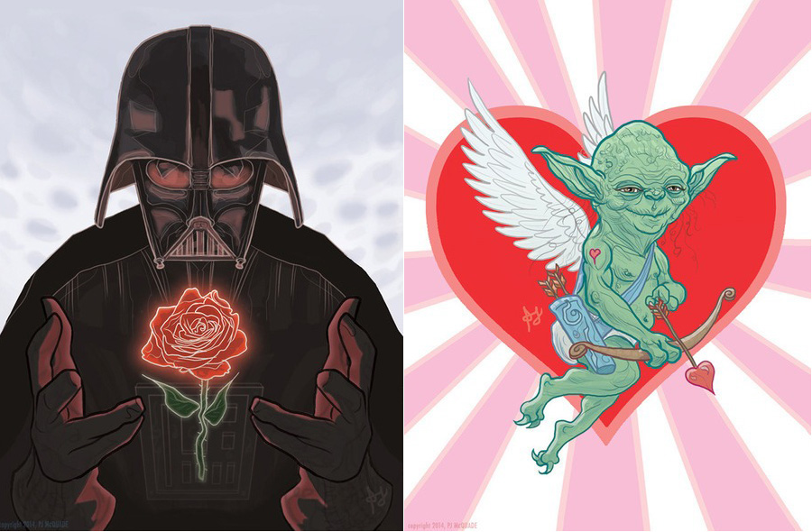 Darth Vader Yoda Lord Of The Rings Valentine Days Card Scifi Smart Sexy