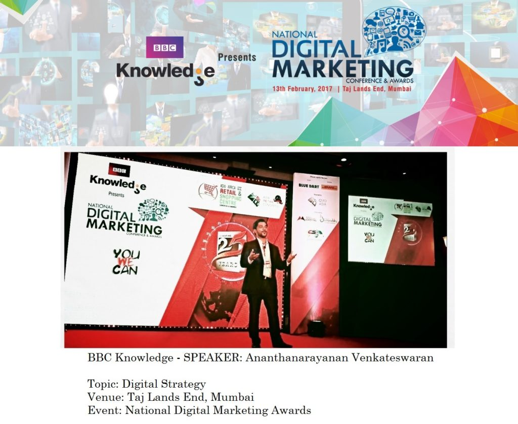 BBC Knowledge - Speaker Ananth V on Digital Strategy at National Digital Marketing awards Taj Lands End