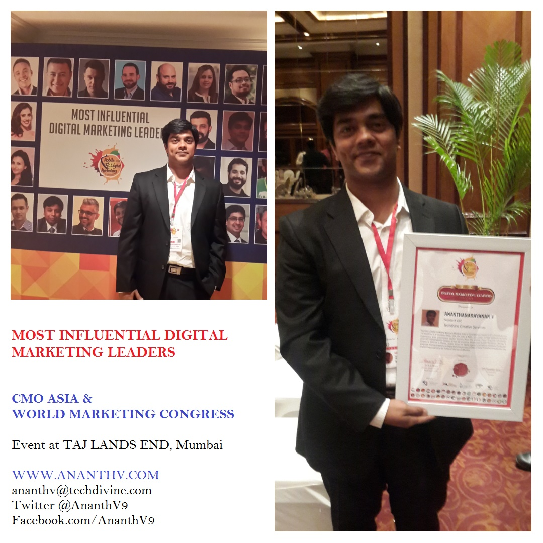 Most Influential Digital Marketing Leaders CMO ASIA World Marketing Congress Awards Ananth V