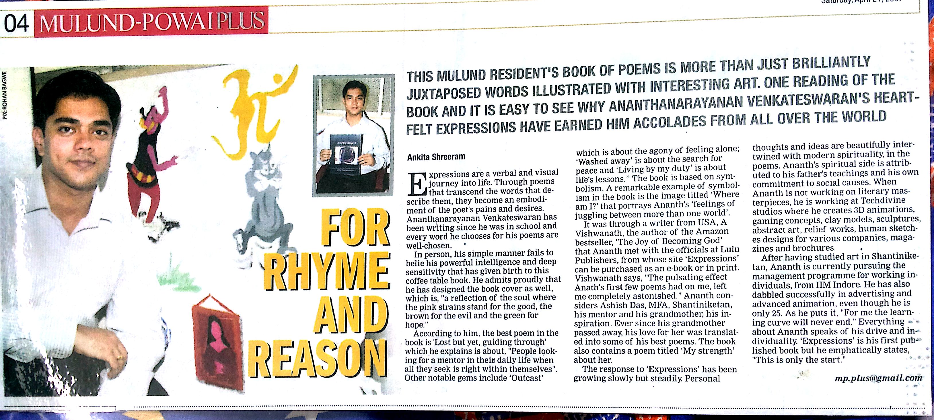 Times Of India Ananth V Expressions Book Coverage Mulund Powai Plus Coffee table Book USA,Europe,INDIA